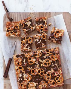 Chocolaty Pretzel-and-Peanut Cookie Bars Don't double up the chocolate.  I used 24 pretzels on top and cut the squares with a pretzel in the middle of each.