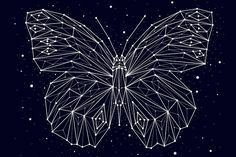 Constellation butterfly by Chikovnaya Butterfly Illustration, Pencil Illustration, Graphic Design Illustration, Design Illustrations, Butterfly Design, Butterfly Logo, Morpho Butterfly, Blue Morpho, Art Journal Prompts