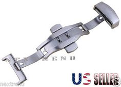 Brushed Silver StainlessSteel Butterfly Deployment Clasp Buckle with Push Button   eBay
