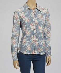 Take a look at this Blue Floral Button-Up - Women by Live A Little on #zulily today!