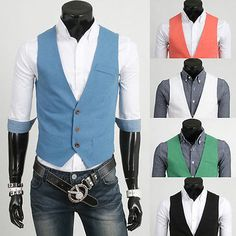 Classic Mens Casual Slim Fit Solid Waistcoat Dress Formal Vest Business Tops