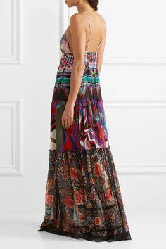 Roberto Cavalli - Printed Silk-georgette Maxi Dress - Purple - IT44