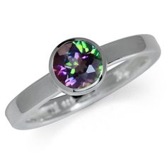 Mystic Fire Topaz 925 Sterling Silver Bezel Set Solitaire Ring Size 10 >>> To view further for this item, visit the image link.Note:It is affiliate link to Amazon.
