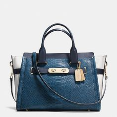COACH Designer Handbags | Coach Swagger 37 In Colorblock Python Embossed Leather