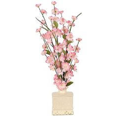 Pink Blossom Arrangement in Ceramic Pot (115 ILS) ❤ liked on Polyvore featuring home, home decor, floral decor, pink flower pot, flower arrangement, inspirational home decor, flower home decor and artificial flower arrangement