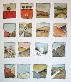 One of my favorite exercies at the Arts University was doing tiny paint sketches. I loved my painting sketchbook and even though paint wasn't ever my medium of choice (I might be terrible at it!), it really helped me get better at illustrating! Landscape Sketch, Watercolor Landscape, Watercolor And Ink, Watercolor Paintings, Watercolors, Watercolor Sketchbook, Art Sketchbook, Watercolor Illustration, Kunstjournal Inspiration