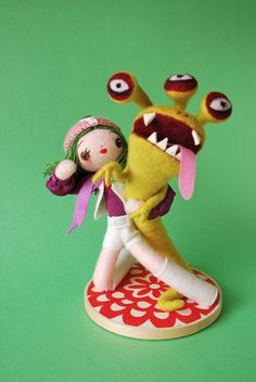 Love this! Normally needle-felting looks super-kawaii, which this is, but it also kicks butt --yes!  Kamen Rider vs Super Sentai by Hine Mizushima, via Behance
