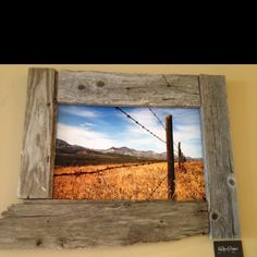 Old fence board for a picture frame. @GoodEarth cafe