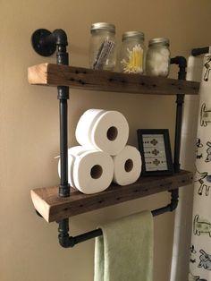 Rustic Bathroom Wood And Stone: Reclaimed Barn Wood Bathroom Shelves Barn Wood Bathroom, Bathroom Wood Shelves, Bathroom Ideas, Basement Bathroom, Farm House Bathroom, Bathroom Storage, Bathroom Curtains, Bathroom Cabinets, Bathroom Vanities