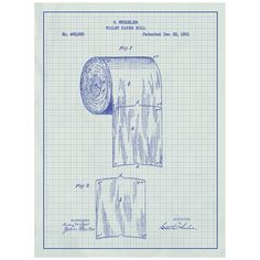 1585 best toilet paper crafts images on pinterest toilet paper toilet paper novelty patent poster blueprint style screen print hand made wall art in multiple colors malvernweather Images