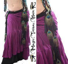 PEACOCK FEATHER TASSELS Black Paradise for by MagicTribalHair, €20.00