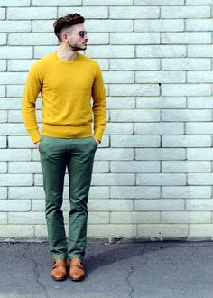 How to wear: yellow crew-neck sweater, green chinos, brown leather double