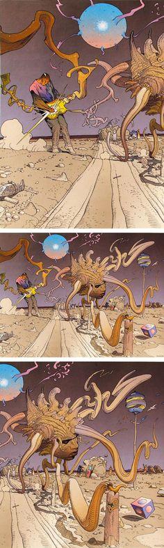 Daily dose of LSD; Jimi Hendrix art by Moebius Jean Giraud, Nogent Sur Marne, Moebius Art, Jordi Bernet, Acid Art, Dragons, Westerns, Science Fiction Art, Statues