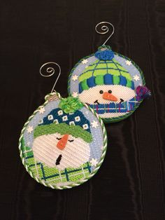 Loved finishing these cute snowman ornaments ~ Canvases by Pepperberry Needlepoint