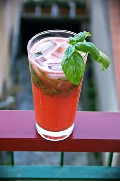Watermelon-basil mojitos