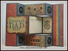 Tri fold shutter Father's Day card using Kaiser Craft paper.   www.craftysisterscreations.com