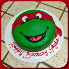 A Teenage Mutant Ninja Turtle Raphael face cake :)