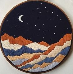 Best 12 This is a handmade mountain embroidery. This embroidery is made-to-order. Best 12 This is a handmade mountain embroidery. This embroidery is made-to-order. Flower Embroidery Designs, Hand Embroidery Stitches, Embroidery Hoop Art, Cross Stitch Embroidery, Geometric Embroidery, Embroidery Materials, Embroidery Ideas, Posca Art, Cross Stitching