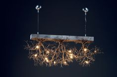 Branches with lights...  The heck with buying it..Gives me the idea of making my own with branches and a wooden board and some interesting little lights I saw at big lots lol.. 3 Rooted  Handmade Ceilling light made of pewter wires. by FMFOS, €1600.00