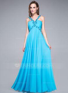 Prom Dresses - $132.99 - Empire V-neck Floor-Length Chiffon Prom Dress With Ruffle Beading Sequins Bow(s) (018042698) http://jjshouse.com/Empire-V-Neck-Floor-Length-Chiffon-Prom-Dress-With-Ruffle-Beading-Sequins-Bow-S-018042698-g42698