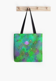 Abstract Bubbles Gold Music Swirl Tote Bag by #MoonDreamsMusic #ToteBag #AbstractBubbles #GoldMusicSwirl