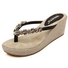 2016 new summer women 6.5cm platform wedge flip flops sandals fashion string bead beach slippers chinelo feminino alishoppbrasil