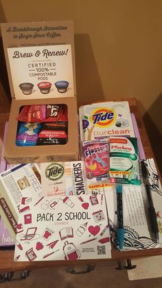 I recieved these products complimentary for testing purposes! #influenster #backtoschoolvoxbox #tidepurecleanattarget #plackers #makeityours #doyoug2 #delisnackers #brewandrenew #b2svoxbox