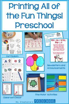 Printing All the Fun Things! - Ms. Stephanie's Preschool Preschool Classroom, Preschool Learning, Everything Preschool, My Favourite Teacher, Name Activities, Classroom Inspiration, Teacher Hacks, Learn To Read, Fun Things