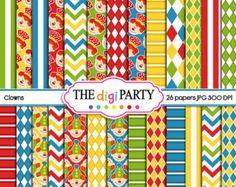 clown digital scrapbook circus printable paper carnival