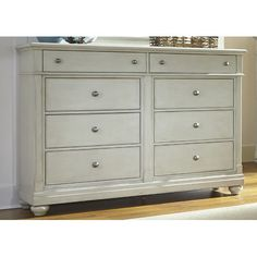Features:  -Fully stained interior drawers.  -Bead molding.  -Finish handle: Antique pewter.  -Casual cottage styling.  -Linen finish drawer color: Off- white.  -Full extension metal side drawer glide