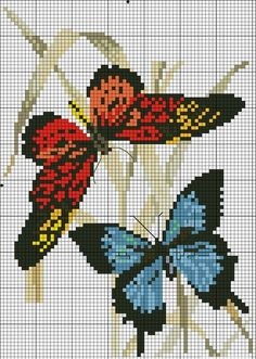 New Embroidery Stitches Flowers Free Pattern Link 24 Ideas Butterfly Stitches, Butterfly Cross Stitch, Cross Stitch Bird, Cross Stitch Animals, Cross Stitch Flowers, Cross Stitch Charts, Cross Stitch Designs, Cross Stitching, Cross Stitch Embroidery