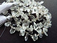 Clear Quartz Nuggets, Graduated Drop Nuggets, Clear Gemstone Nuggets, Quartz Jewelry, 39cm Strand, Stone Strand, Jewelry Supplies, UK Seller