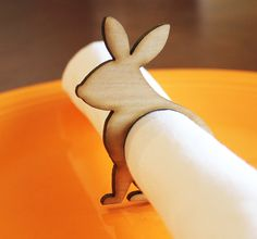 Easter Rabbit Wood Napkin Rings Easter Bunny Rabbit Easter Bunny Laser Cut Set of 4 8 12 Large Size