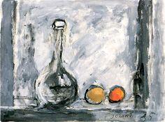 J. Czapski, Natura morta con frutta e caraffa, 1985, olio su tela