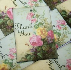 Gift Tags Rose Garden Thank You 8pcs $5.20 Beautiful work... be sure to check out Paperquick on Etsy