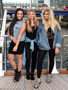 Reunited: The Geordie Shore girls (from left) Chloe Ferry, Holly Hagan and Sophie Kasaei were reunited in London on Wednesday to promote the new series
