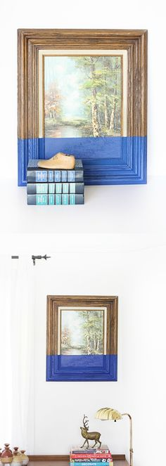 This DIY wall art is the perfect way to modernize a thrift store piece - all you need is a can of spray paint!