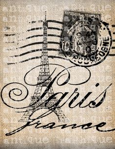 Antique Paris France Fancy Eiffel Tower Old Postcard Digital Download for Tea Towels, Transfer, Pillows, etc Burlap No 3803. $1.00, via Etsy.
