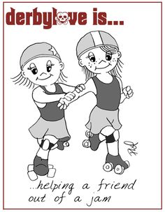 Helping a friend out of a jam | derbylove roller derby comics