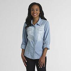 Cute denim shirt fitted for women - Canyon River Blues- Women's Chambray Camp Shirt