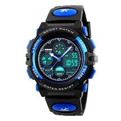 Kids Sport Outdoor Digital Unusual Analog Quartz Dual Time Zone Waterproof PU Resin Band Watch with Chronograph, Alarm, Classic Design Calendar Date Window for Boys Girls Children - Blue //Price: $14.99 & FREE Shipping //     #hashtag4