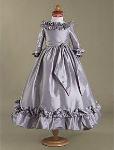 Ball Gown Bateau Floor-length Taffeta Flower Girl Dress  – USD $ 89.99