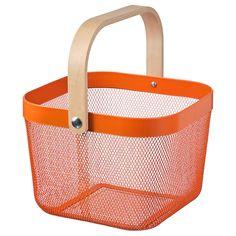 """RISATORP Wire basket, orange, 9 ¾x10 ¼x7"""" - IKEA Ikea Storage Boxes, Stackable Storage Boxes, Extra Storage, Storage Shelves, Kallax Shelf Unit, Kitchen Wall Storage, Home Grown Vegetables, Veggies, Ikea Family"""