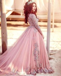 2018 Ball Gown Long Sleeves Evening Dresses Princess Muslim Sequins Beaded  Illusion Puffy Court Train Prom Red Carpet Runway Gowns Custom Celebrity  Evening ... 4ffc83d229c5