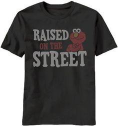 Sesame Street Elmo Raised On The Street Adult Black T-shirt for Daddy