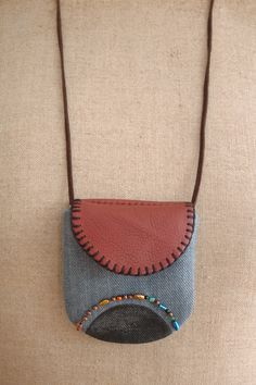 small pouch necklace - using old denim, leather, beads, textile paint - handmade