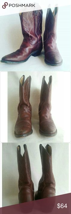 """Vintage Brown Leather Justin Boots Style L4937 """"Coffee Saltillo"""" Women's Size 8.5B 11"""" rise Medium round toe 1 5/8"""" long base riding heel Overall very good vintage condition!  Sole still in great shape Made in Mexico Justin Boots Shoes Heeled Boots"""