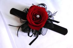 Red Rose with Black Ribbon Wrist Corsage