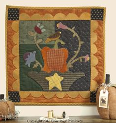 Basket of Bounty Quilt by Robin Vizzone for Briar Root Primitives, Fall Quilt, Hand Dyed Wool Applique