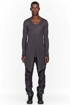 JULIUS Charcoal V-Neck Draped Layered Fraise Shirt